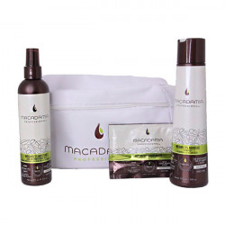 Набор для тонких волос в белой косметичке Macadamia Professional Weightless Moisture Beauty Bag 300 + 30 + 236 мл M7071